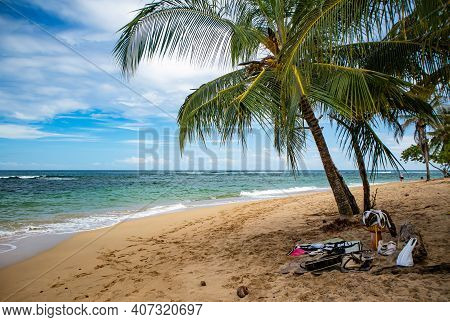 Walking On The Wild Beach Of Puerto Viejo By The Caribbean Sea In Costa Rica, Central America