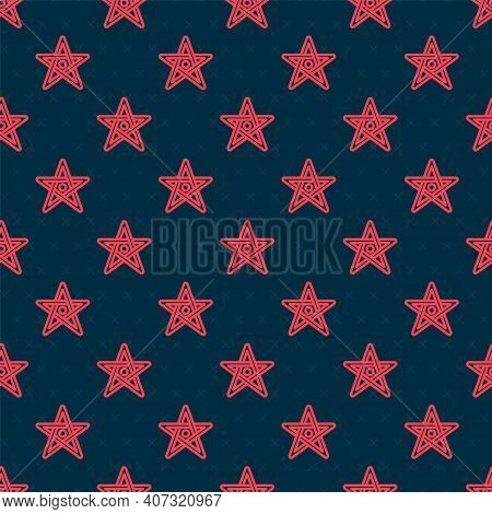 Red Line Pentagram Icon Isolated Seamless Pattern On Black Background. Magic Occult Star Symbol. Vec