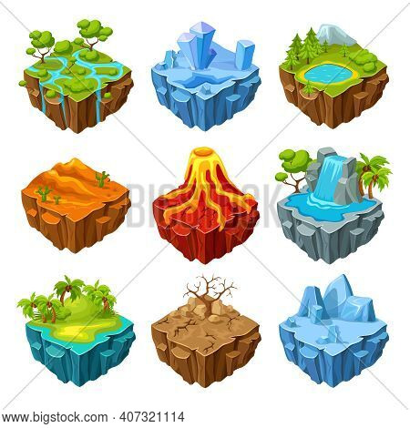 Islands Of Computer Game Isometric Set With Drought Trees And Mountains Volcano And Waterfall Isolat