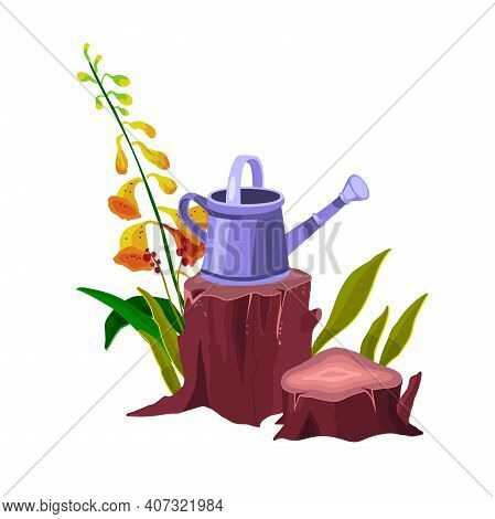 Tree Stump Vector Isolated Cartoon Icon With Bell Plant, Watering Can, Trunk, Green Leaves, Roots. F