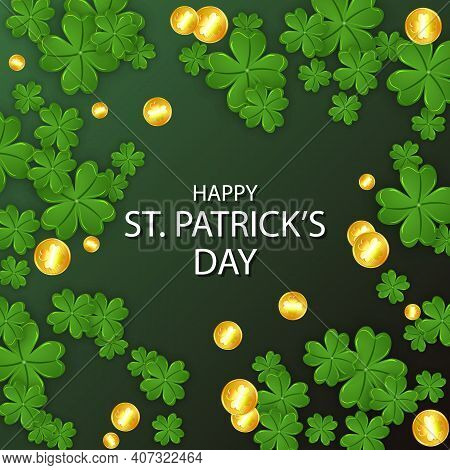 Clover Leaves With Coins On A Dark Green Background For St Patricks Day Gree, Vector Art Illustratio