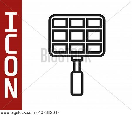 Black Line Barbecue Steel Grid Icon Isolated On White Background. Top View Of Bbq Grill. Wire Rack F