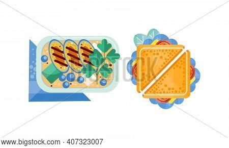 Set Of Appetizing Fresh Food For Breakfast Or Lunch Flat Vector Illustration