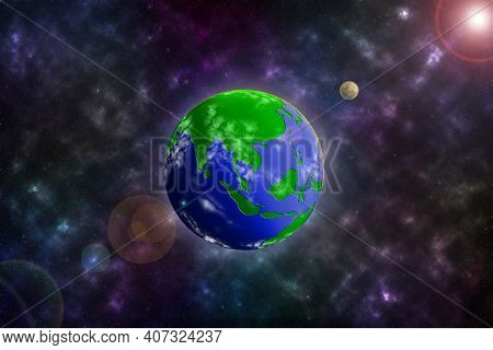 3d Image Illustration Simulated Earth Or Blue & Green Planet On Colorful Galaxy Space Background Con