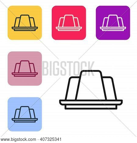 Black Line Jelly Cake Icon Isolated On White Background. Jelly Pudding. Set Icons In Color Square Bu