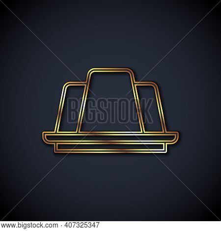 Gold Line Jelly Cake Icon Isolated On Black Background. Jelly Pudding. Vector