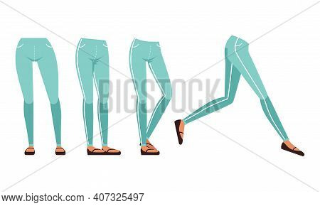 Female Legs In Jeans And Shoes In Various Poses Set, Girl Character Creation Detail Cartoon Vector I