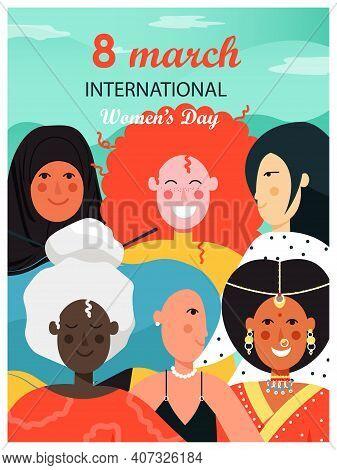 8 March International Womens Day Poster, Banner, Card Design Template. Feminism, Women Empowerment.