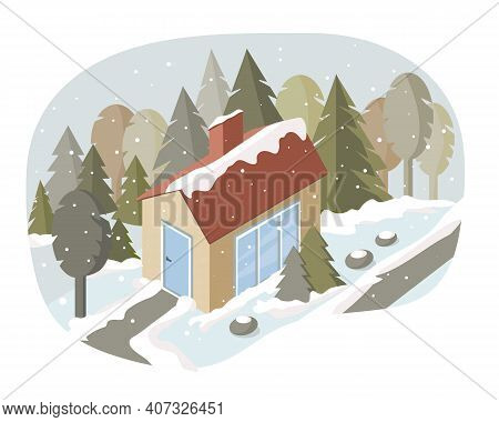 Vector Illustration Of A Rustic Family Home In The Forest. Winter Landscape, Snowfall. There Are Man