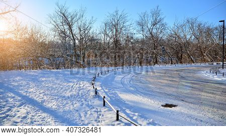 Winter Landscape View With Trees And Sun. Winter Sunrise , Park View. Sun Shines Through Snow Covere