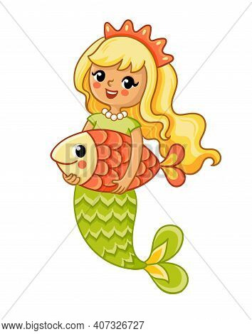 Cute Mermaid Smiles And Holds A Large Fish In Her Hands. Vector Illustration
