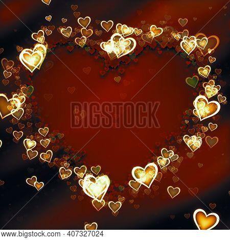 An illustration of a dark valentine heart background