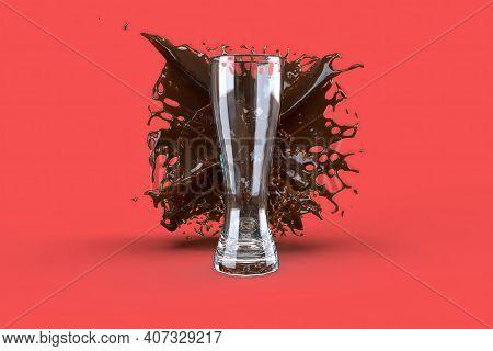 Beer Glass Splashes In Red Color Background, 3d Render