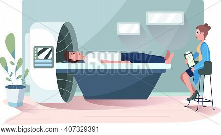 Woman Doctor With Patient Lying, Making Magnetic Resonance Imaging. Flat Design Illustration. Vector
