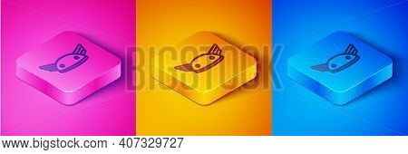 Isometric Line Helmet With Wings Icon Isolated On Pink And Orange, Blue Background. Greek God Hermes