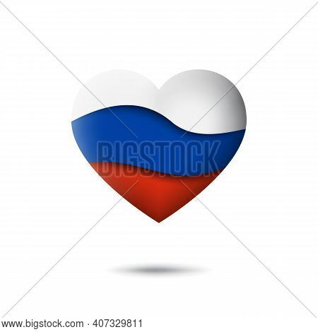 Russia Flag Icon In The Shape Of Heart. Waving In The Wind. Abstract Waving Flag Of Russia. Russian