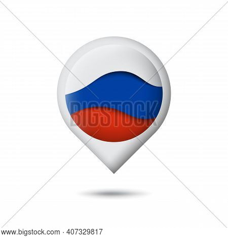 Russia Flag Icon In The Shape Of Pointer, Map Marker. Waving In The Wind. Abstract Waving Flag Of Ru