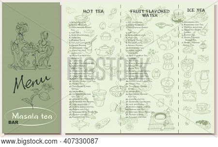 Tea Restaurant Menu Template With Hot Fruit Flavored Ice Sorts And Spices Utensil Desserts Sketch El