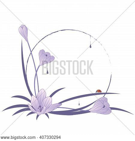 Vector Round Frame With Flowers Of Crocus, Drops And Ladybird In Blue Colors