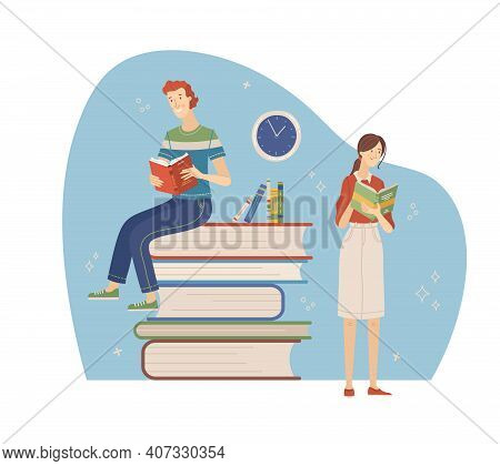 Happy People Relaxing With Book Cartoon Vector Illustration. Students Study In Library, Literary Clu