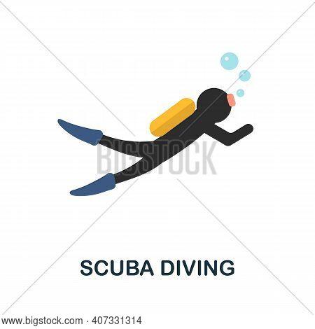 Scuba Diving Flat Icon. Color Simple Element From Diving Collection. Creative Scuba Diving Icon For