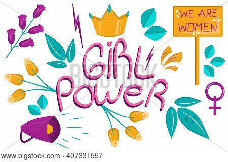 Set Of Girl Power In Cartoon Style Isolated On A White Background. For The Design Of Lettering, Flow