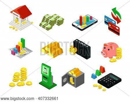 Isometric Business Financial Icons Set With Bank Cash Gold Bars Coins Payment Cards Safe Contracts M