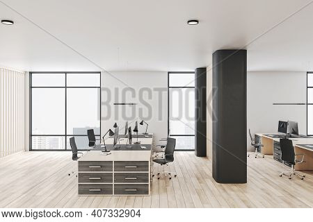 Modern Office Interior With Dark Wood Tables, Wooden Floor, Huge Windows And Massive Partition. 3d R