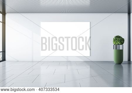Blank White Mockup Poster On Light Wall In Modern Minimalistic Room With Green Shrub Vase And Cityvi