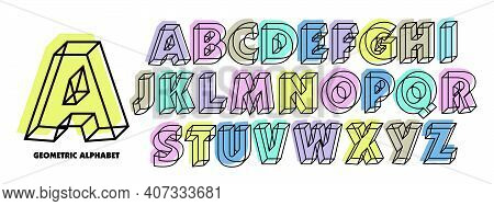 Vector Of Geometric Letters Of The Alphabet. 3d Isometric Alphabetic Font. Neon Colors