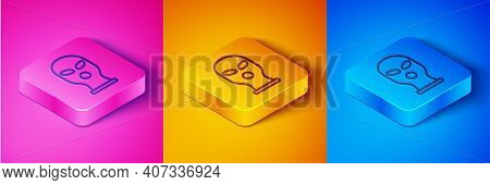 Isometric Line Balaclava Icon Isolated On Pink And Orange, Blue Background. A Piece Of Clothing For