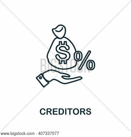 Creditors Icon. Simple Element From Business Management Collection. Creative Creditors Icon For Web