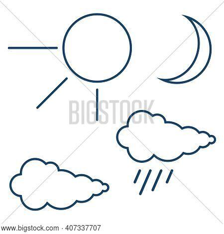 Meteorological Signs, Set Of Meteorological Signs. Vector Illustration. Vector.