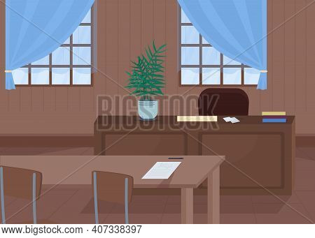 Courthouse Flat Color Vector Illustration. Place Where Justice Is Main Thing. Investigating Crimes A