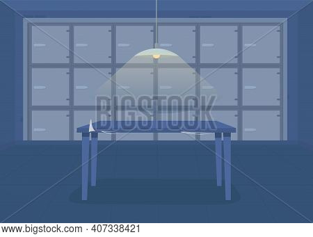 Morgue Flat Color Vector Illustration. Place For Collecting And Storing All Dead Bodies In Refrigera