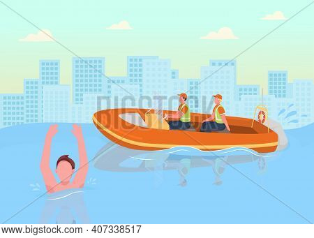 Coast Guards Flat Color Vector Illustration. Helping People In Water. Coast Officers Saving People F