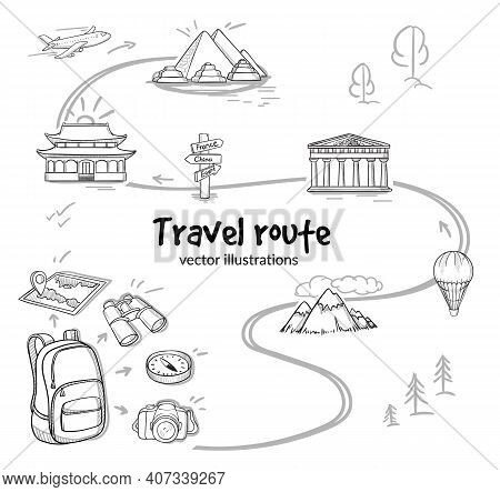 Sketch Travel Route Concept With Backpack Map Binoculars Compass Camera Airplane Air Balloon And Sig