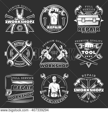 White Isolated Vintage Repair Workshop Logo Set With Premium Quality Service Workshop Description Pa