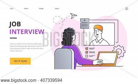 Job Interview Abstract Concept. Woman Recruiter Interviewing Job Seeker. Colored Outline Flat Cartoo