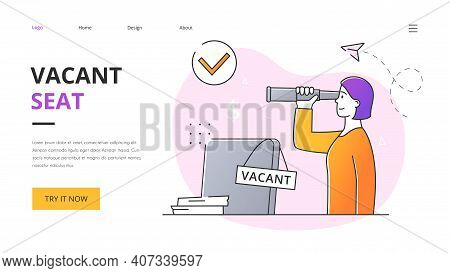 Vacant Seat Abstract Concept. The Female Leader Is Looking For An Employee. A Female Character Stand