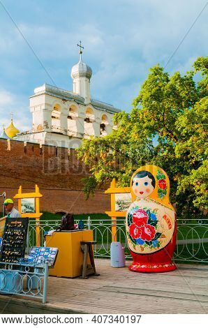 Veliky Novgorod,russia-august 10, 2019. Belfry Of St Sophia Cathedral With Big Colorful Russian Matr
