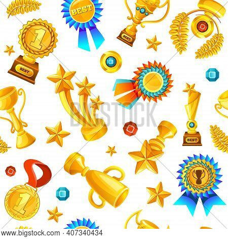 Colored Cartoon Gold Trophies Medals Seamless Background Pattern Flying On White Fond Vector Illustr