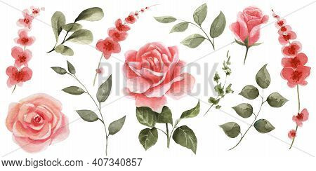 Set Of Spring Flowers On A White Background. Watercolor Pink Roses, Red Flowers And Green Leaves. Pe