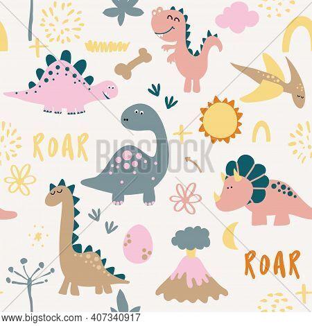 Dino Friends. Funny Cartoon Dinosaurs, Bones, And Eggs. Cute T Rex,  Characters. Hand Drawn Vector D