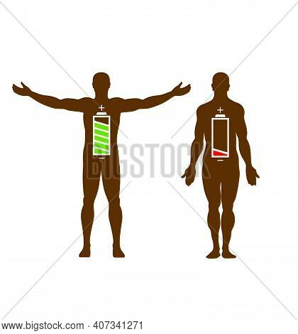 Human Silhouette With Battery Icon, Battery Power With Energy, Business Concept, Isolated, Vector Il