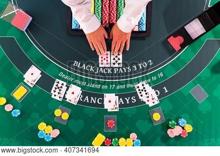 Overhead view of a  Casino Black Jack table
