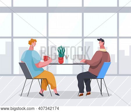Businessmen Dressed In Formal Clothes Are Sitting At The Table With Laptops And Talking. Office Work