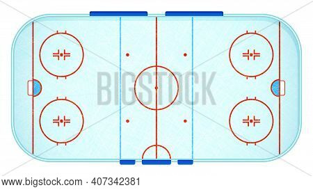 Ice Hockey Sports Rink Markings Lines Top View With Scratches On Ice. Outline Hockey Playground. Spo