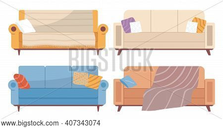 Set Of Illustrations On Theme Of Leisure Furniture. Couch With Colorful Pillows Vector Illustration.