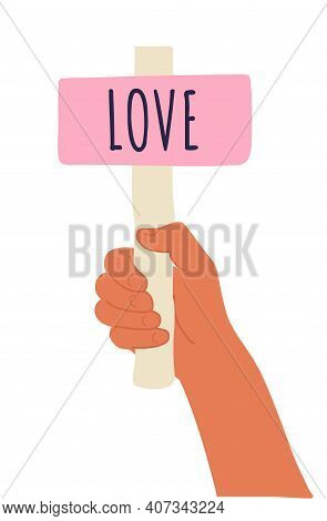 Cartoon Vector Illustration Of Love Banner In Human Hand On White Background. Test Question. Choice